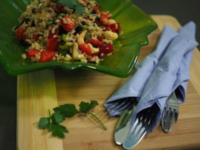 brown, rice, salad, recipe,