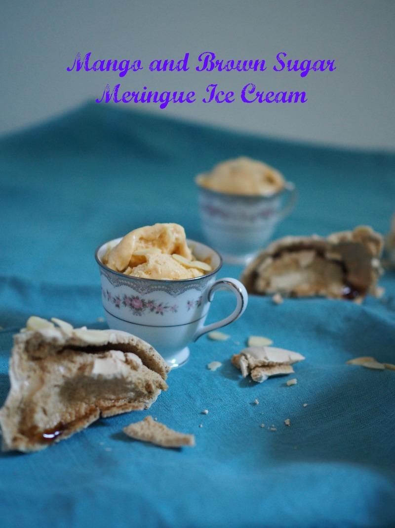 mango and brown sugar meringue ice cream, jamie oliver, ice cream, meringue, brown sugar meringue, recipe, mango