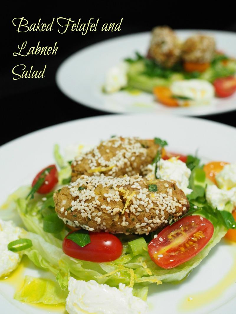 falafel and labneh salad, oven-baked, falafel, oven-baked falafel, labneh, labne, salad, kebab, recipe, healthy, quick