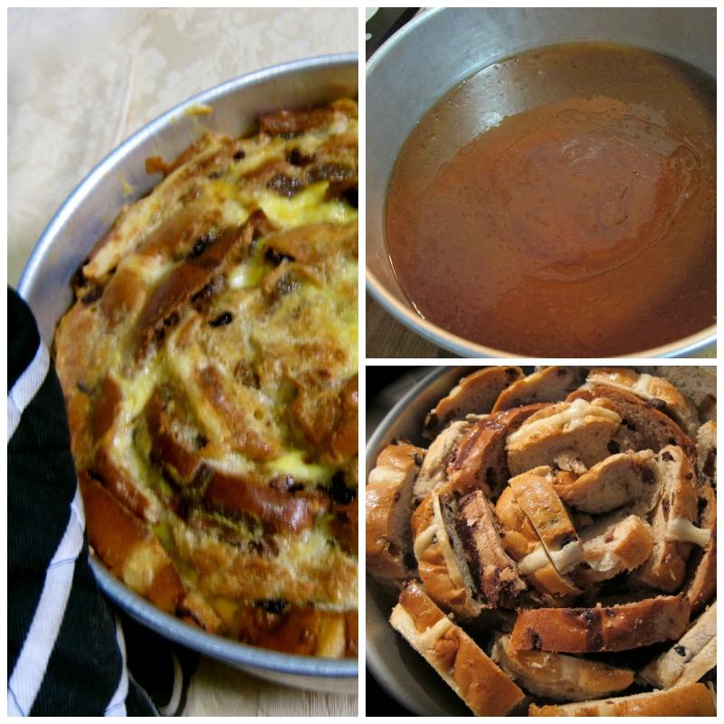 salted caramel bread pudding, salted caramel, hot cross bun, hot cross bun pudding