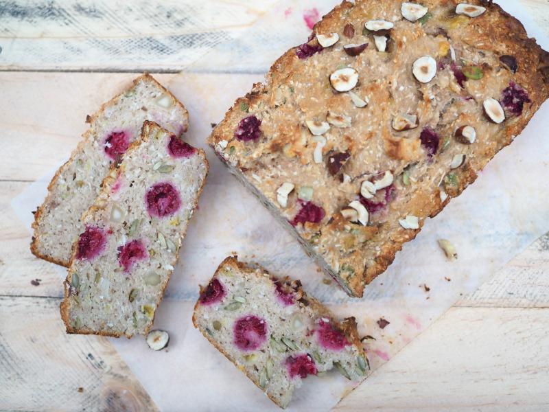 buckwheat banana bread, buckwheat, Gluten free, banana bread, raspberries, almond meal, bread, seeds, nuts, pepitas, walnuts, hazelnuts, easy breakfast idea, snack, healthy,