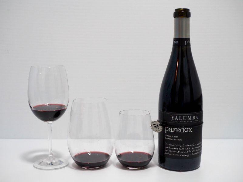 wine glass affect taste, shape, riddle, wine glass, your home depot, yalumba, paradox, shiraz, barossa valley