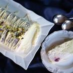 ice cream cake, christmas, cherry, pistachio, white chocolate, semifreddo recipe, cherry pistachio white chocolate semifreddo, easy christmas recipe, easy christmas dessert, make ahead dessert, champagne and chips