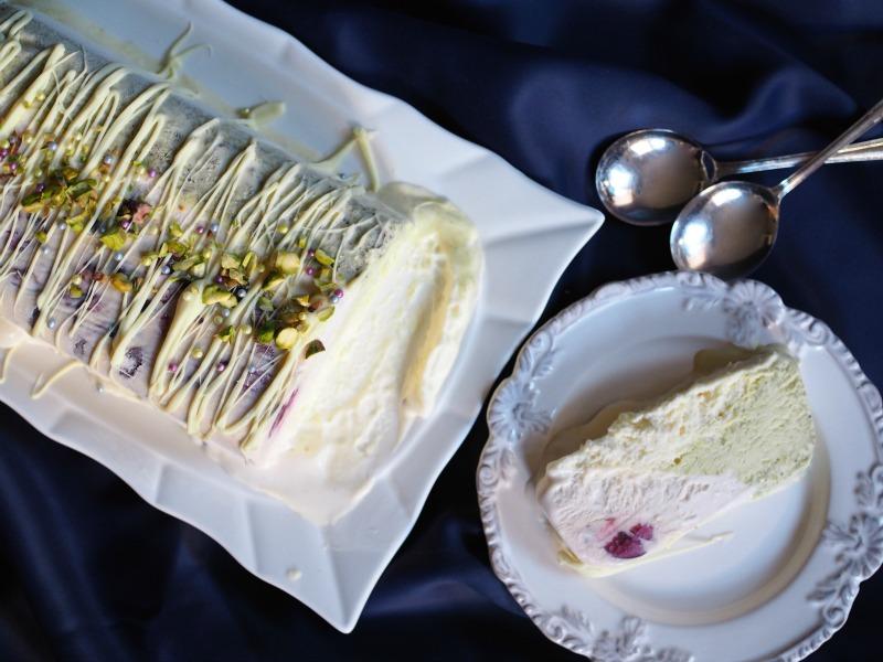 christmas ice cream terrine, ice cream cake, christmas, cherry, pistachio, white chocolate, semifreddo recipe, cherry pistachio white chocolate semifreddo, easy christmas recipe, easy christmas dessert, make ahead dessert, champagne and chips